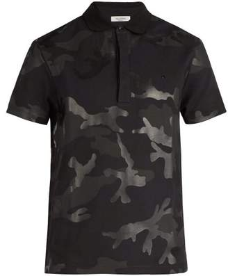 Valentino Camouflage Cotton Polo Shirt - Mens - Black