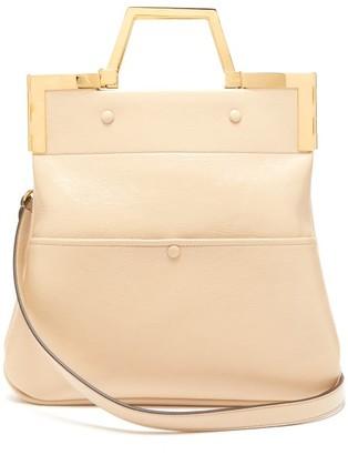 Fendi Small Crackled Leather Tote Bag - Womens - Beige