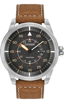 Citizen Mens Avion Watch with Leather Strap