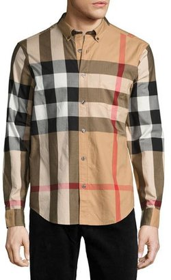 Burberry Fred Exploded Check Button-Down Shirt, Camel $295 thestylecure.com