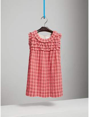 Burberry Sleeveless Check Seersucker Dress