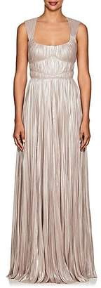 J. Mendel Women's Shimmering Plissé Gown - Pearl