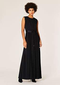 Women's Black Pleated Sleeveless Maxi Dress