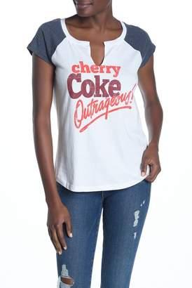 d8f13d45837a01 Recycled Karma Cherry Coke Split Neck Raglan Tee