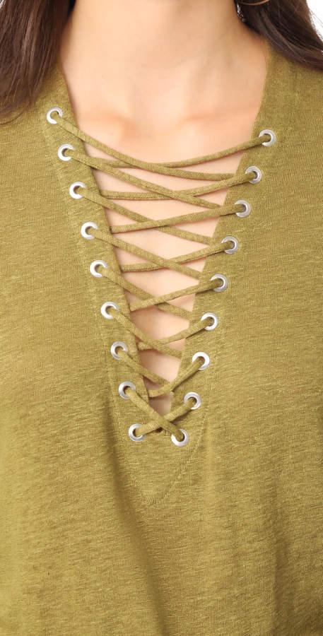 IRO Aletty Lace Up Long Sleeve Tee