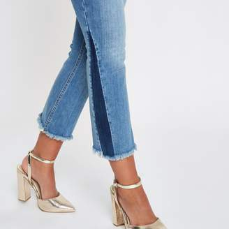 River Island Womens Mid Blue cropped shadow panel flare jeans