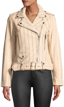 Derek Lam 10 Crosby Striped Leather Zip-Front Moto Jacket