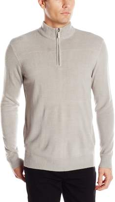 Geoffrey Beene Men's Long Sleeve Ribbed Yoke Quarter Zip Sweater