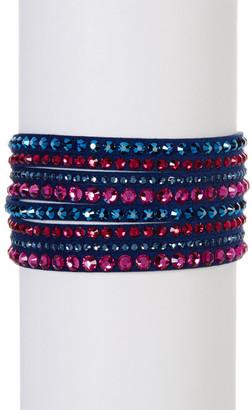 Swarovski Slake Deluxe Crystal Embellished Faux Suede Wrap Bracelet $69 thestylecure.com