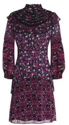 Anna Sui Ruffle-Trimmed Printed Silk-Georgette Mini Dress