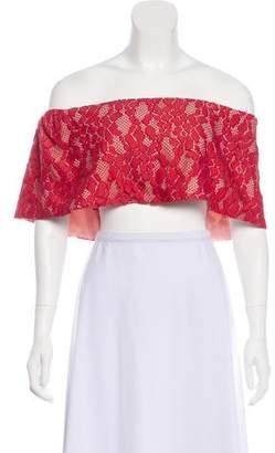 Alexis Lace-Accented Shoulder Crop Top w/ Tags