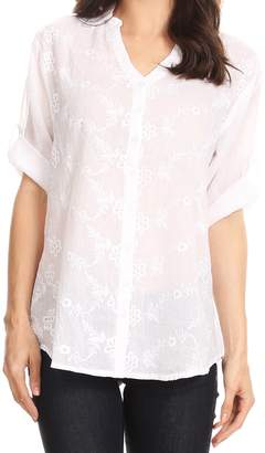 Isabella Collection Sakkas 5296 V-Neck Button Up Roll Sleeve Floral Embroidered Shirt - XL