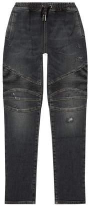 Balmain Drawstring Biker Jeans