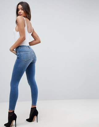 Asos RIDLEY High Waist Skinny Jeans With Popper Back Detail In Vintage Mid Blue