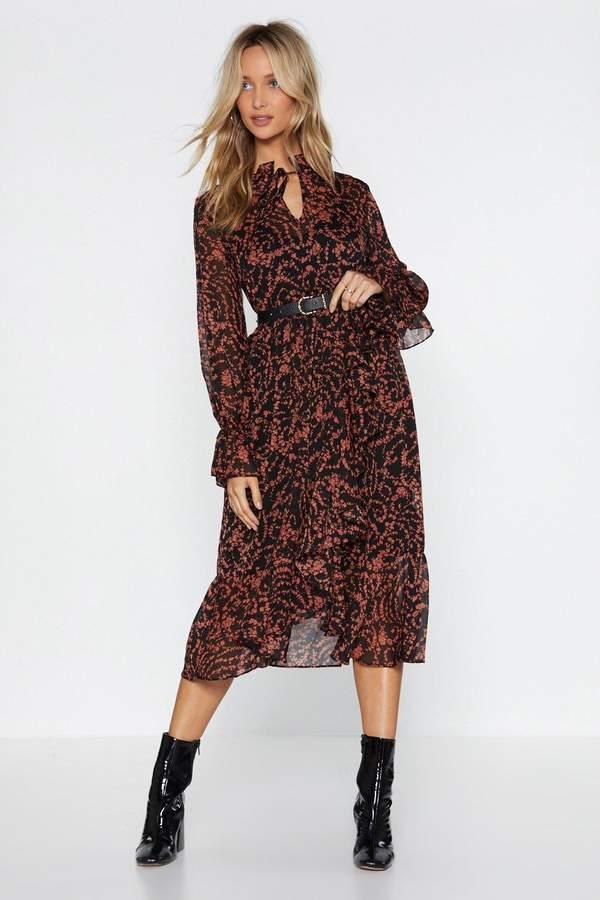 Floral Ruffle High Neck Midi Dress