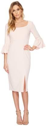 Donna Morgan 3/4 Length Bell Sleeve Scoop Neck Crepe Sheath w/ Midi Length Skirt and Side Slit Women's Dress