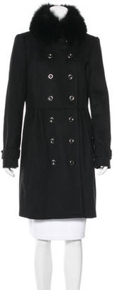 Burberry Wool Fox Fur-Trimmed Coat $645 thestylecure.com
