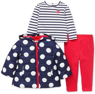 Little Me Baby Girls 3-Pc. Hooded Jacket, Striped T-Shirt & Pants Set