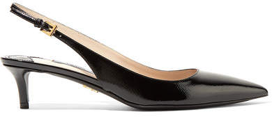Prada - Textured Patent-leather Slingback Pumps - Black