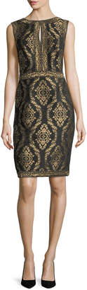 Tadashi Shoji Sleeveless Baroque Jacquard Cocktail Dress