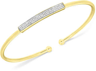 Wrapped in Love Diamond Bar Flexie Bangle Bracelet (1/6 ct. t.w.) in 14k Gold-Plated Sterling Silver, Created for Macy's
