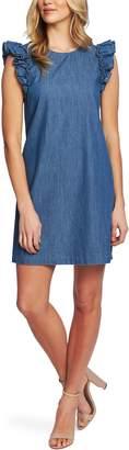 CeCe Flutter Sleeve Denim Shift Dress