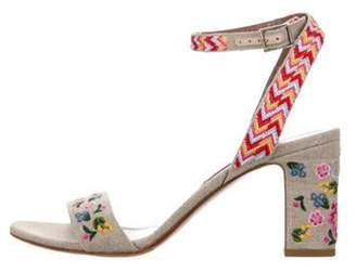 Tabitha Simmons Embroidered Ankle Strap Sandals multicolor Embroidered Ankle Strap Sandals