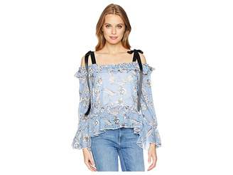 Romeo & Juliet Couture Ribbon Shoulder Ruffle Top Women's Clothing