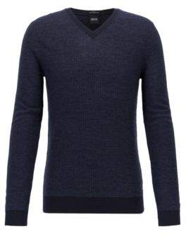BOSS Hugo Slim-fit sweater in extra-fine Italian merino wool XL Open Blue