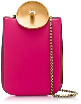 Marni Misty Rose Black And Acid Leather Monile Shoulder Bag