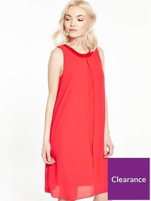 Wallis PETITE Embellished Overlay Dress - Coral