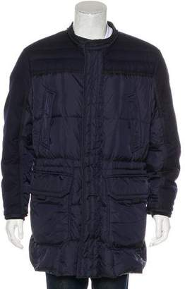 Moncler Mixed-Media Arvier Down Coat