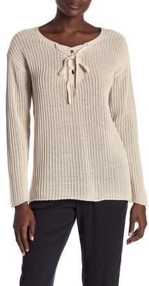 Michael Stars Lace-Up Knit Sweater