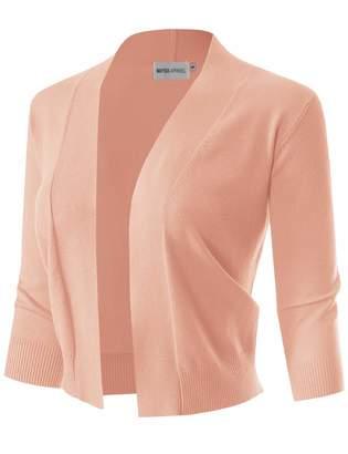MAYSIX APPAREL 3/4 Sleeve Solid Open Bolero Cropped Cardigan for Women Black XL