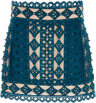 Zimmermann Moncur Studded Cotton And Silk Mini Skirt