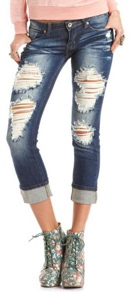 Charlotte Russe Machine Jeans Destroyed Boyfriend Jean
