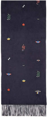Gucci Navy Embroidered Silk and Cashmere Scarf