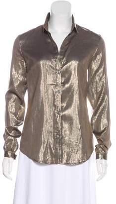 Elizabeth and James Metallic Button-Up Shirt