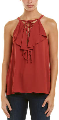 BCBGMAXAZRIA Lace-Up Ruffle Tank