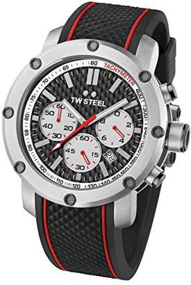 TW Steel Men's Quartz Watch with Black Dial Chronograph Display and Black Rubber Strap TS2