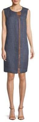 Lafayette 148 New York Dominic Leather Trim Dress
