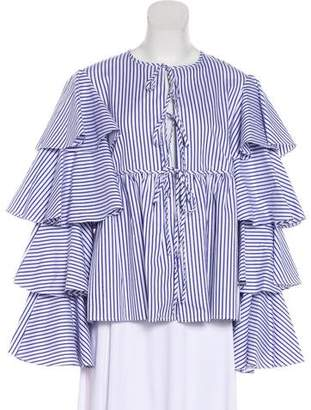 Caroline Constas Ruffled Lace-Up Blouse w/ Tags