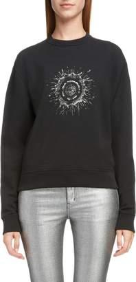 Saint Laurent Embellished Splatter Logo Sweatshirt