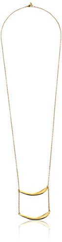Yochi Double Bar Gold Plated Necklace, 31''