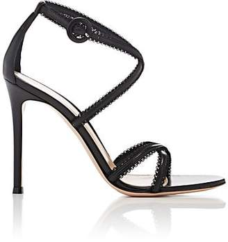 Gianvito Rossi WOMEN'S LACE-TRIMMED LEATHER SANDALS - BLACK SIZE 9
