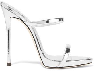 Giuseppe Zanotti - Darsey Metallic Leather Sandals - Silver $695 thestylecure.com