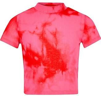River Island Girls pink tie dye print T-shirt