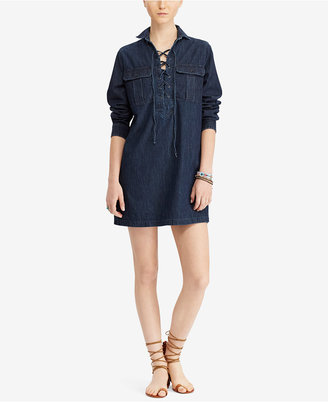 Denim & Supply Ralph Lauren Cotton Lace-Up Denim Dress $125 thestylecure.com
