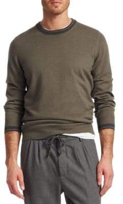 Brunello Cucinelli Crew Stripe Collar Sweater