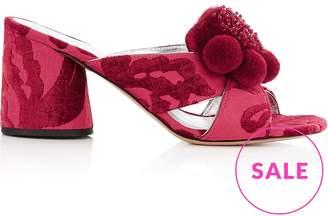 Marc Jacobs Aurora Pompom Mule Block Heels- Red
